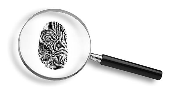Image of  magnifying glass with a fingerprint